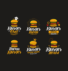 Burger logo or label fast food eating concept vector
