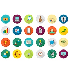 Business communication round icons set vector
