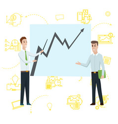 business man standing pointing to diagram chart on vector image