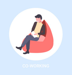 businessman freelancer sitting at armchair vector image