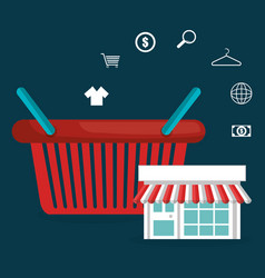buy on line with shopping basket vector image