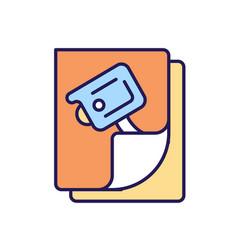 Camera surveillance sign rgb color icon vector