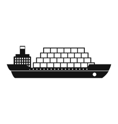 Cargo ship flat black simple icon vector image