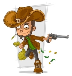 Cartoon cowboy robber with handgun vector