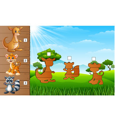 Cartoon wild animals collection find the correct vector