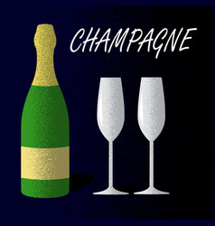 champagne bottle with glasses on dark blue vector image