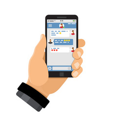 Chat application on smartphone vector