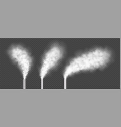 chimneys with white smoke industrial factory vector image