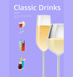 Classic drinks champagne advert poster wine glass vector