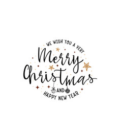 Merry Christmas Happy New Year Script Vector Images Over 6 500