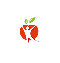Creative red apple healthy spiritual body logo vector