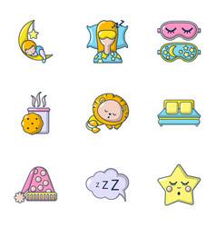 deep sleep icons set cartoon style vector image