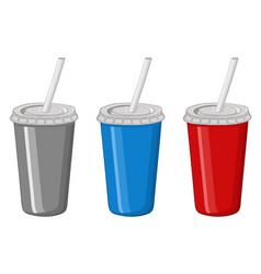 disposable cup with drinking straw colored set vector image