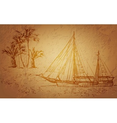 Docked Pirate Ship Sketch vector image