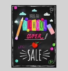 doodle back to school lettering poster vector image