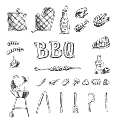 Doodle set of barbecue and grill elements vector