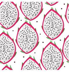Dragon fruit pitaya pitahaya seamless pattern vector