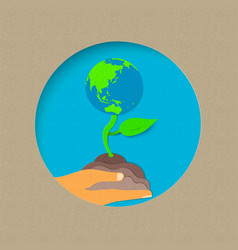 earth day paper cut world nature concept vector image