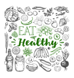Eat healthy food vegetarian 3 vector