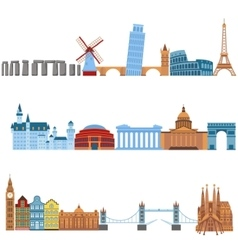 Eurotrip tourism buildings travel famous worlds vector
