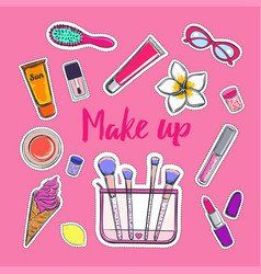 fashion and beauty stickers 1 vector image