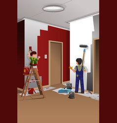 Father son painting a wall vector