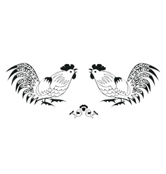 Fighting of black roosters on a white background vector