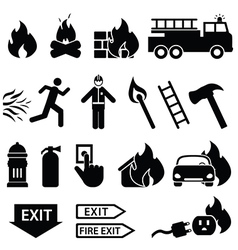 Fire fighters icons vector image
