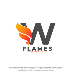 Flame with letter w logo design fire logo template vector