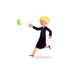 Flat office worker woman running for money vector