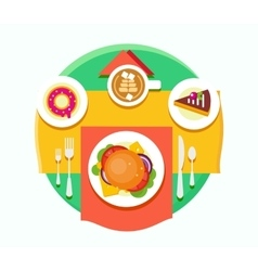 Food Objects on Table Flat Design vector image