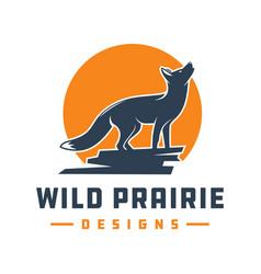 fox animal logo design on stone vector image