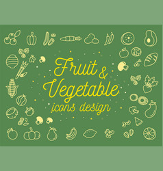 fruit and vegetable icons design set vector image