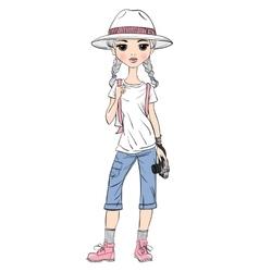 Girl traveler with photo camera vector