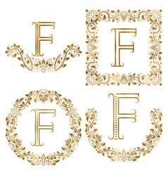 golden f letter ornamental monograms set heraldic vector image