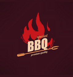 grill and bbq stylized logo template vector image