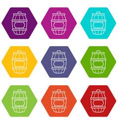 Honey barrel icons set 9 vector