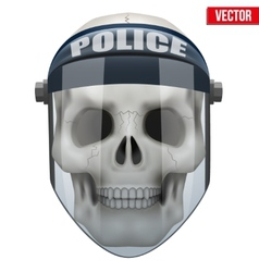 Human skull with police protect mask on vector image