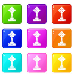 irish celtic cross icons 9 set vector image