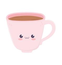 Kawaii coffee cup cute cartoon isolated icon vector