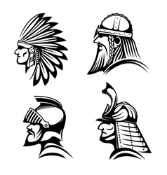 Knight viking samurai and native indian icons vector
