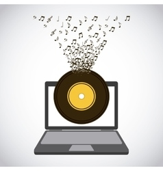 Laptop and music design vector
