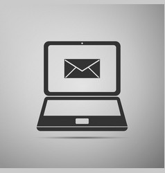 Laptop with envelope and open email on screen icon vector