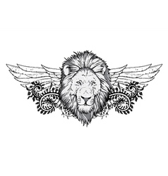 Lion with floral and wings vector