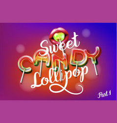 lollipop sweet candy colorful alphabet font vector image