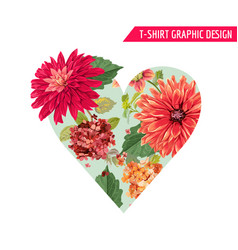 love romantic floral heart spring summer design vector image