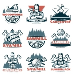 lumberjack custom woodworks emblems vector image