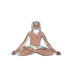 man in lotus pose hand drawn icon vector image
