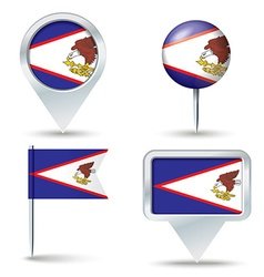 Map pins with flag of American Samoa vector image
