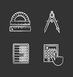 Mathematics chalk icons set vector